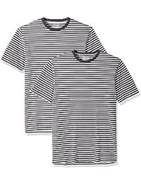 Men's Slim-fit Short-Sleeve 2-Pack Stripe Crewneck T-Shirts