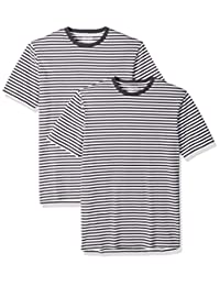 Amazon Essentials camisetas de cuello redondo a rayas de manga corta para hombre