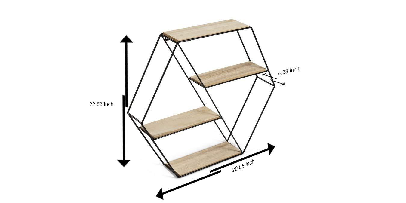 Foto Stile Vintage Mensole da Muro Design Soggiorno LIFA LIVING Mensola da Muro Esagonale Porta Oggetti Libreria Parete sospesa con 4 Ripiani Metallo