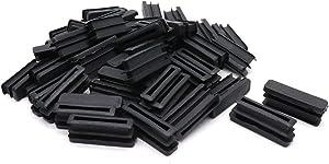 BTMB 50 Pcs Plastic Rectangular Tubing End Cap Plug Furniture Table Chair Leg Foot Post Pipe Insert Cover (10x40mm/0.4''x1.57'')