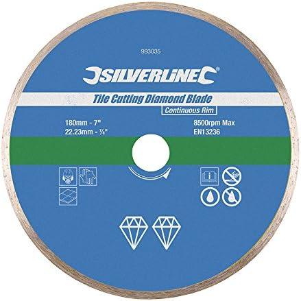 Silverline 993035 Diamant-Fliesentrennscheibe 180mm x 22,23 mm, geschlossener Rand