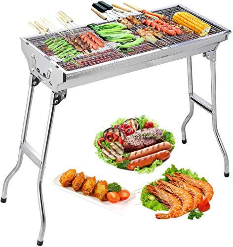 Uten-Barbecue-Grill-Stainless-Steel-BBQ-Charcoal-Grill-Smoker-Barbecue-Folding-Portable-for-Outdoor-Cooking-Camping-Hiking-Picnics-Backpacking-Large