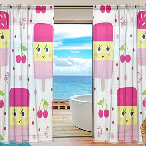 Floral Cherry Ice Cream Semi Sheer Curtains Window Voile Drapes Panels Treatment-55x84in for Living Room Bedroom Kids Room, 2 Pieces