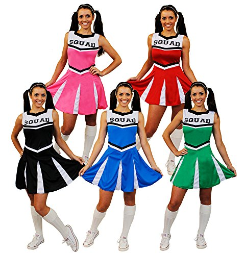 Cheerleader Fancy Dress Costume Womens High School Cheer Leader Uniform - Pink, US -