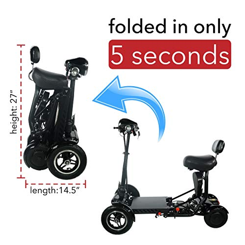 2020 Model Foldable Lightweight Li-on Battery Power Mobility Scooters Easy Travel Electric Wheelchair Multi Terrain Scooter for Adults with Child Seat (Black)