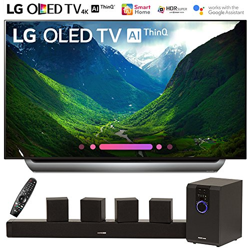 LG OLED55C8PUA 55″-Class C8 OLED 4K HDR AI Smart TV (2018 Model) with Sharper Image 5.1 Home Theater System w/Subwoofer, Sound Bar & Satellite Speakers