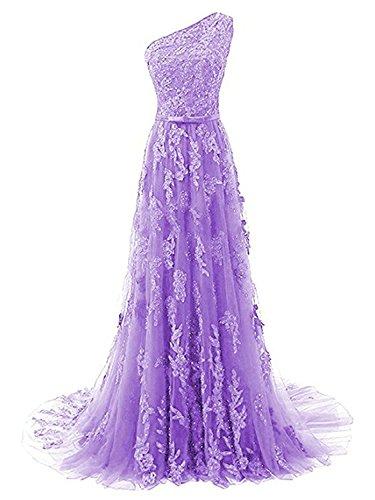 Un de de Encaje Lila Fiesta JAEDEN A Vestido Vestido Vestido de Novia Largo línea Hombro Noche ACwv7Cq