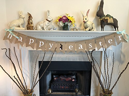 HAPPY EASTER Burlap Banner Garland - Bunny Rabbit & Fluffy Tail Design - Ready to Hang Wall Decor - Complete with Hanging Ribbon Decoration - by Jolly Jon Products (Fall Fireplace Mantels)