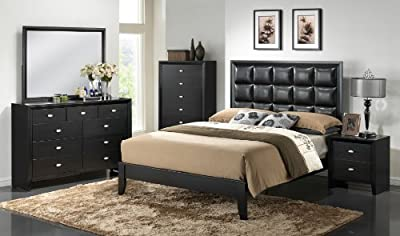 Roundhill Furniture Gloria Black Finish Wood Bed Room Set, King Bed, Dresser, Mirror, Night Stand-P