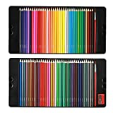 Magicfly 72 Colored Pencils Set Premier Soft Core Watercolor Pencils with 2 Brushes and Metal Tin Case, Bonus Pencil Sharper