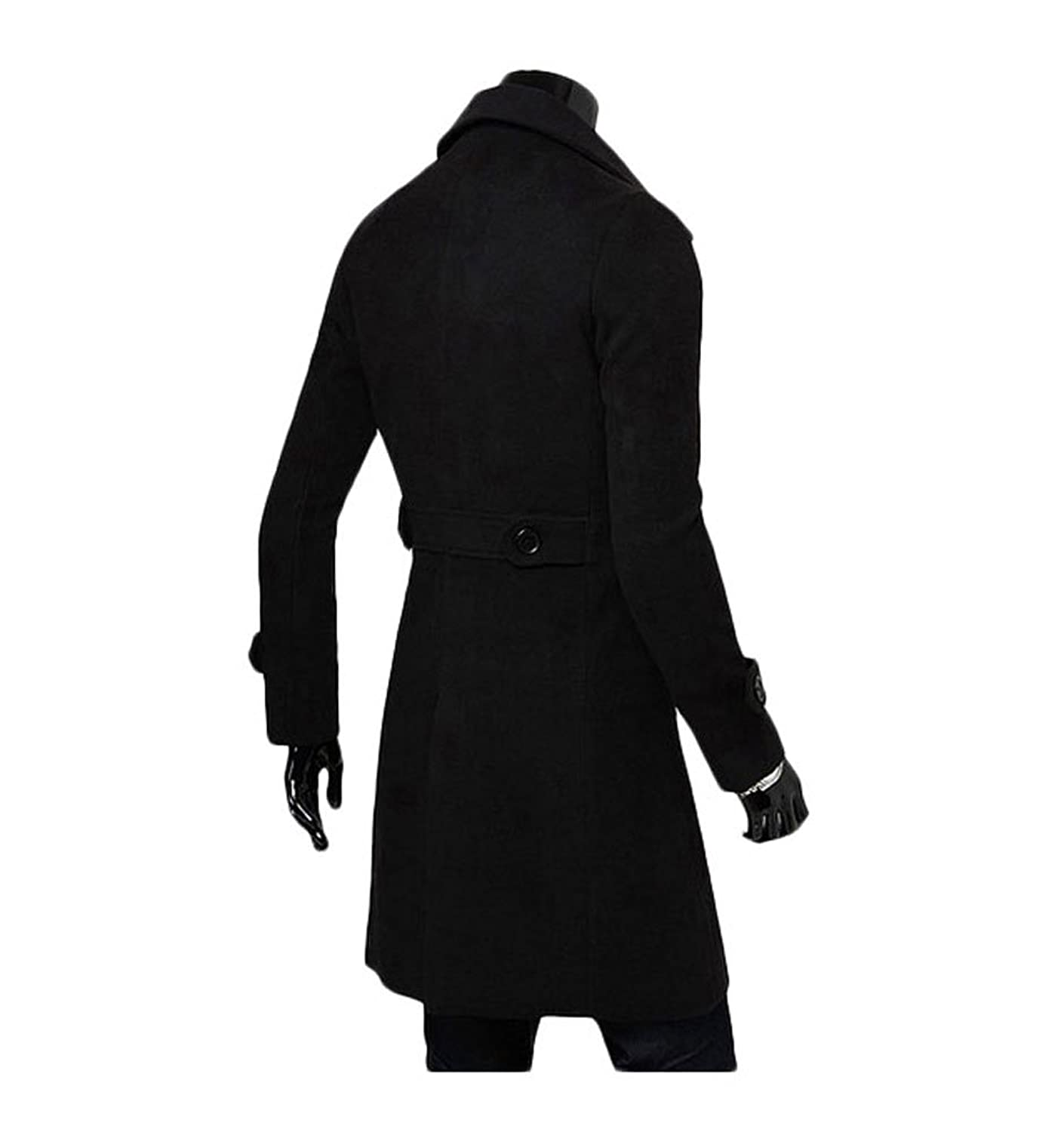 King Ma Mens Winter Trench Double Breasted Slim Long Jacket ...