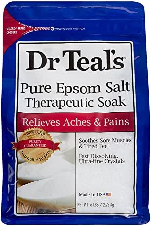 Dr Teals Pure Epsom Salt Therapeutic Soaking Solution, Unscented, 96 Oz. (Pack of 6)