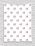 asddcdfdd Emoji Tapestry, Cat Faces with Pink Heart Shaped Eyes Romantic Animal Kitty Mascot In Love, Wall Hanging for Bedroom Living Room Dorm, 60 W X 80 L Inches, Pale Grey Pink White