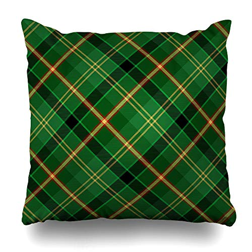 (NOWCustom Throw Pillow Cover Jacket Scottish Tartan Abstract Kilt Geometric Pattern Plaid Retro Checkered Design Wool Zippered Pillowcase Square Size 18 x 18 Inches Home Decor Pillow Case)