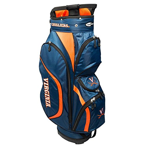 Team Golf NCAA Virginia Cavaliers Clubhouse Golf Cart Bag, Lightweight, 8-Way Top with Integrated Handle, 6 Zippered Pockets, Padded Strap, Towel Ring, Umbrella Holder & Removable Rain Hood