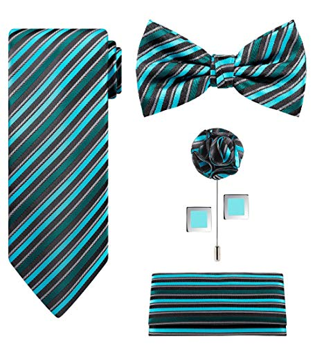 5pcs Tie set in a gift box : Tie sets : Solid color Neck tie,Satin Bow tie,Pocket Square, Lapel, Cuffs link (Green Silver stripe) (Tie Stripe Gift Set)