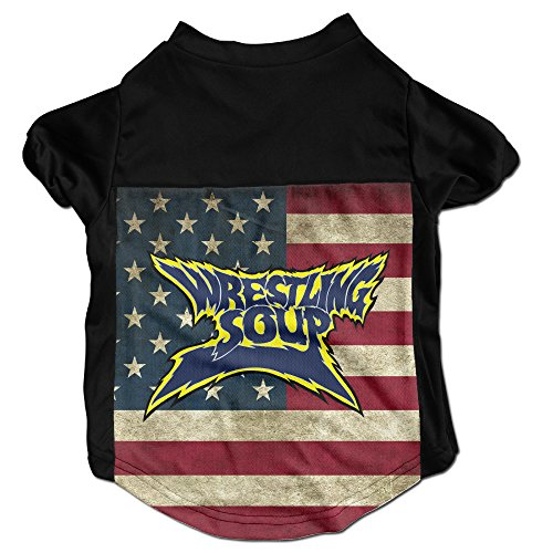 Wrestling Soup Logo Costumes, Clothing, Shirt, Vest, T-shirt, Puppy Pet Dog Cat Fashion 100% Polyester Fiber Tee Gift For Any Animal Fan Lovers Black Medium ()