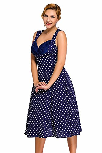 Gloria&Sarah Women's Cut Out Retro 1950'S V Neck Vintage Party Cocktail Swing Dresses Plus Size Vintage Dress,Polka Dot Navy,XXL - Vintage Square Dance Dress
