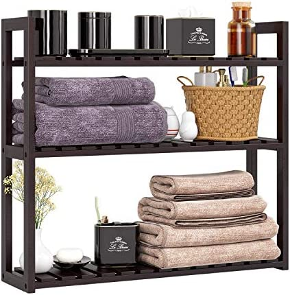 HOMFA Bamboo Bathroom Shelf 3-Tier Multifunctional Adjustable Layer Rack Wall Mounted Utility Storage Organizer Towel Shelves Kitchen Living Room Holder Dark Brown
