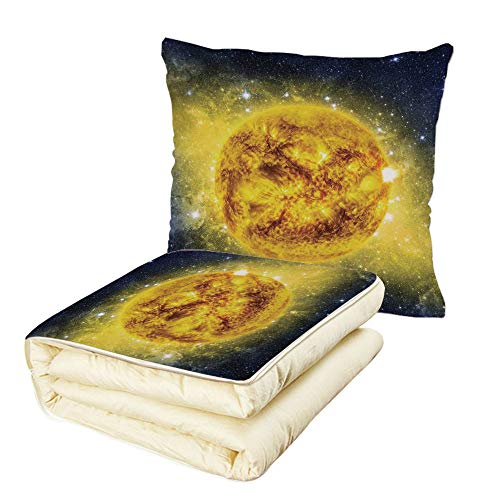 iPrint Quilt Dual-Use Pillow Galaxy Panorama of Sun in Space with Luminous Effects Dynamic Center of Solar System Print Multifunctional Air-Conditioning Quilt Yellow Blue by iPrint