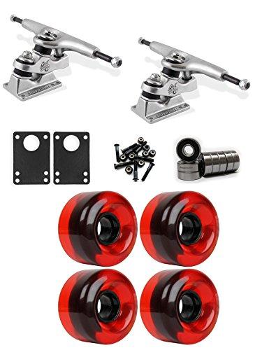 設置デモンストレーションカードGullwing Sidewinder Longboardトラックホイールコンボ62 mm x 40 mm 83 a 485 Cレッドクリア