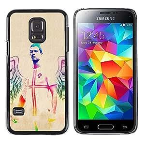TopCaseStore / la caja del caucho duro de la cubierta de protección de la piel - Football Player Sexy Man Angel Art Neon - Samsung Galaxy S5 Mini, SM-G800, NOT S5 REGULAR!
