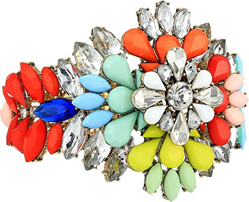 Jeweled Cuff Bracelet - Steve Madden Women's Floral Jeweled Cuff Bangle Gold/Blue/Red One Size