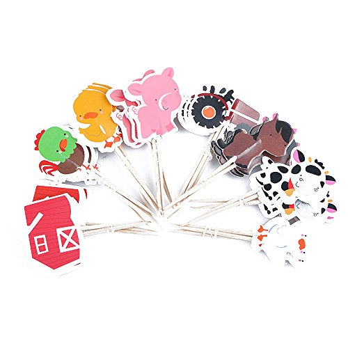 Farm Animal Cupcake Toppers, Cake Decorations, Appetizer Picks for Kids Birthday Party, Themed Party (72 pack) by NADARDA (Image #3)