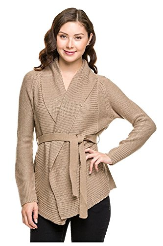 G2 Chic Women's Solid Ribbed Knit Open Cardigan Sweater with Waist Tie(TOP-CGN,LBN-S)