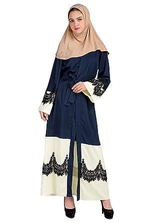 7b0f3e71e0 Romacci Women Muslim Long Sleeve Dress With Crochet Lace Maxi Gown Kaftan  Dubai Islamic Dress