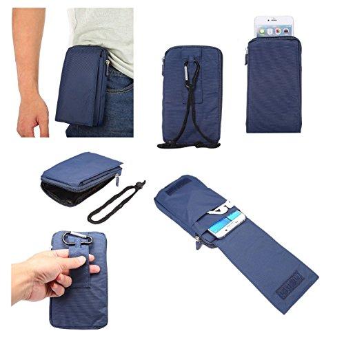 - DFV mobile - Multi-Functional Universal Vertical Stripes Pouch Bag Case Zipper Closing Carabiner for => WND Telecom Wind Duo 3200 Glow > Blue XXM (18 x 10 cm)