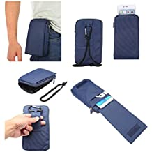 DFV mobile - Multi-functional Universal Vertical Stripes Pouch Bag Case Zipper Closing Carabiner for => DORO HANDLEPLUS 326I GSM > Blue XXM (18 x 10 cm)