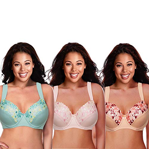 Curve Muse Plus Size Minimizer Underwire Bra with Embroidery Lace-3Pack