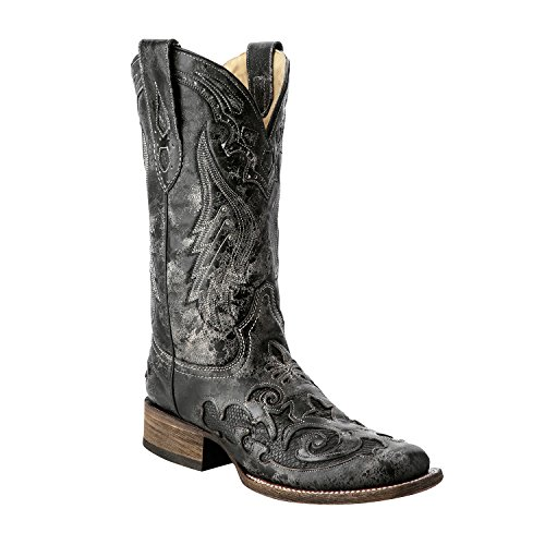 Corral Women's Vintage Python Inlay Cowgirl Boot Square Toe Black 9 M (Vintage Cowboy Boot)