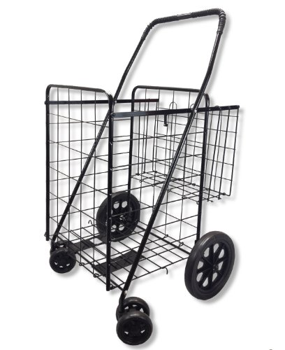 Folding Shopping Cart Swivel Wheel Extra Basket Jumbo Black by SCF