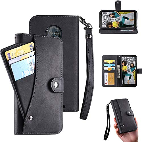 Moto G6 Plus Case,Moto G6 Plus Wallect Case, Flip Leather Case 5 Cards / 1 Photo Slot/Cash Pocket PU Cover with Wrist Strap [Wallet Stand] Phone Case for Moto G6 Plus (Black) by okasis