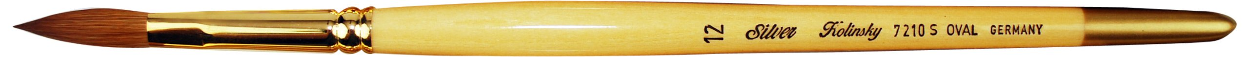 Silver Brush 7210S-12 Silver Kolinsky Sable Short Handle Excellent Quality Brush, Oval, Size 12