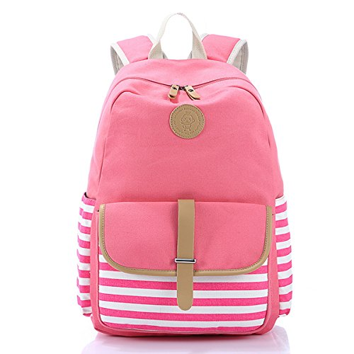 SCIONE Classic Stripe Design Casual Canvas School Backpack Laptop Backpack for Gilrs (Pink)
