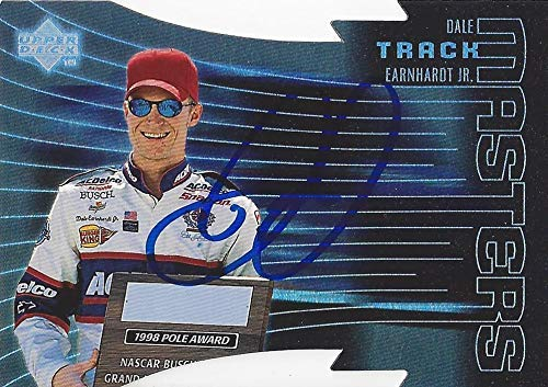 (AUTOGRAPHED Dale Earnhardt Jr. 1999 Upper Deck Racing TRACK MASTERS (1998 Pole Award) Championship Season Diecut Insert Signed NASCAR Collectible Trading Card with COA and Toploader)