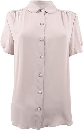Anne Klein blusa de manga corta con botones para mujer - Rosa - 48: Amazon.es: Ropa y accesorios