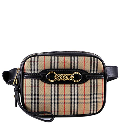 (Burberry Women's Taupe Tartan Check Belt Bag with Chain )