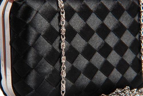 Clutch Handheld Box Satin by Vivid Minaudiere Weave Black Handbag C61fqxw