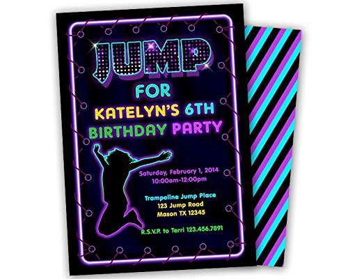 Image Unavailable Not Available For Color Girl Jump Birthday Party Invitations Trampoline