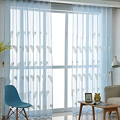 pureaqu Luxury Sheer Window Treatment Fashion New Voile W39xH84 Rod Pocket Process Modern Embroidered Drape 1Panel