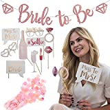 TMarie Bridal Shower and Bachelorette Party Decoration Kit - Photo Booth Props Rose Gold, Sparkling Pink Glitter Bride to Be Banner (4 Ft. Long), plus BONUS Pink Confetti - Party Supplies for Weddings