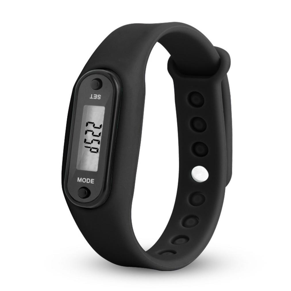 Waterproof Pedometer, Durable Digital LCD Simply Operation Run Step Walking Distance Calorie Counter Watch Bracelet Fitness Tracker Band for Women Men and All Family Numbers (Black)