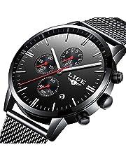 LIGE Uhr Herren Mode Schwarz Quarz Analog Edelstahl Uhr Mit Wasserdicht milanaise mesh Armband Chronograph