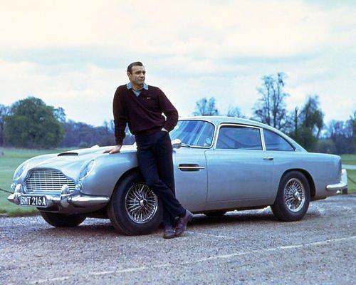 Sean Connery Posing By Aston Martin Db7 11x14 HD Aluminum Wall Art