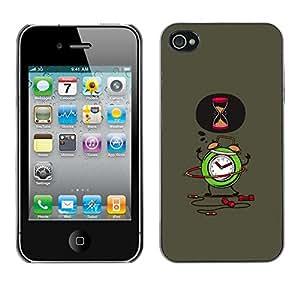 Cubierta de la caja de protección la piel dura para el Apple iPhone 4 / 4S - up alarm work office 9-5 sleep