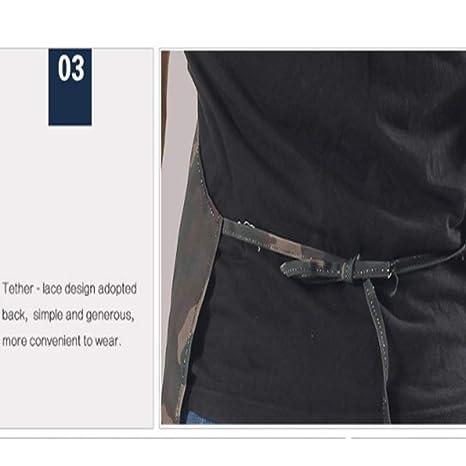 Delantal de cocina de cocina para hombres Unisex Delantal de camuflaje Delantal impermeable para la herramienta Elegante Duradero Delantal impermeable para el taller Delantal con dos bolsillos